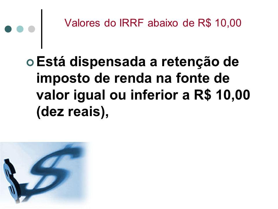 Valores do IRRF abaixo de R$ 10,00