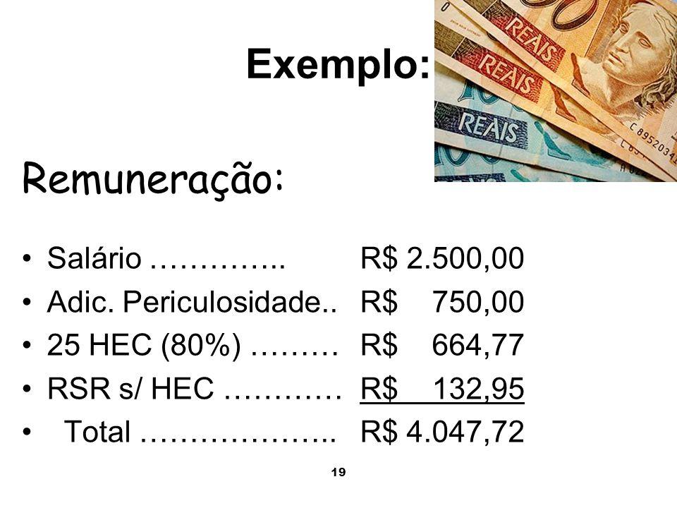 Exemplo: Remuneração: Salário ………….. R$ 2.500,00