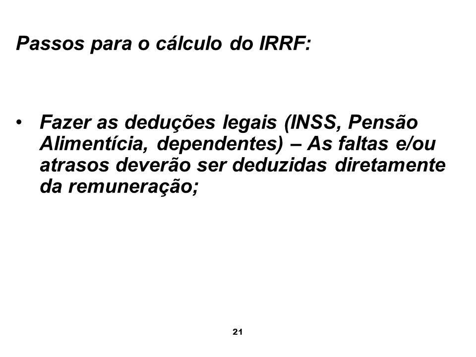 Passos para o cálculo do IRRF: