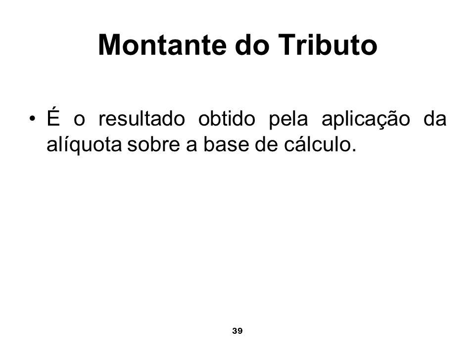 Montante do Tributo É o resultado obtido pela aplicação da alíquota sobre a base de cálculo.