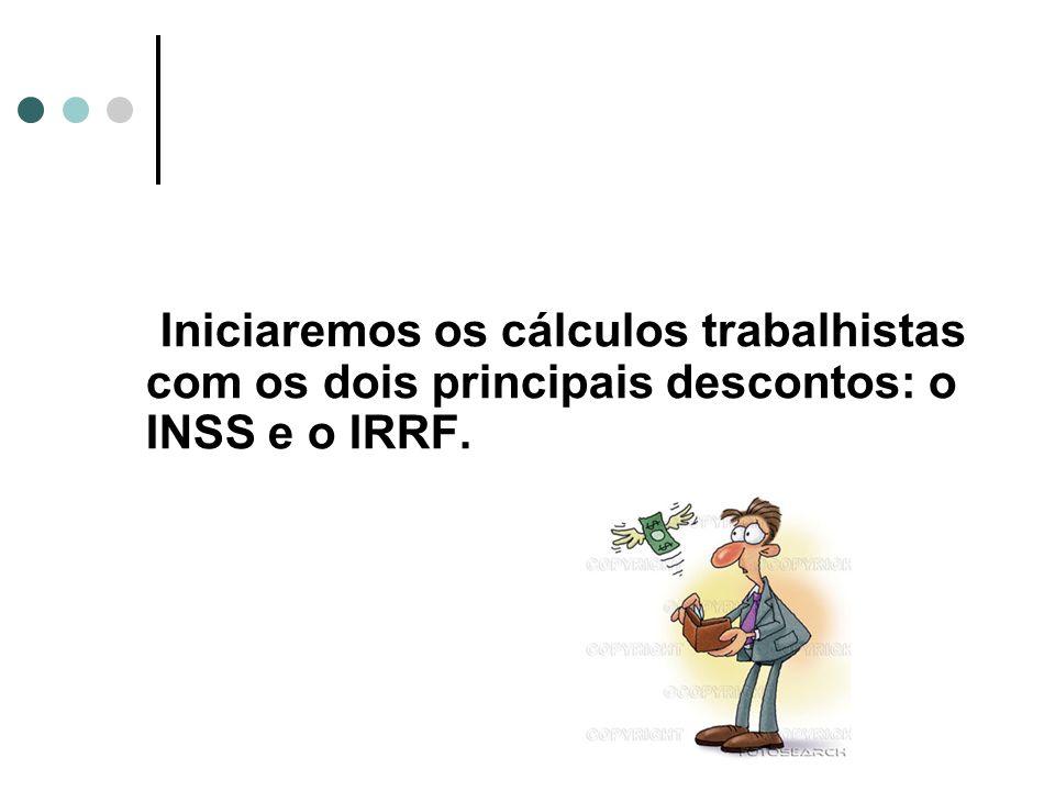 Iniciaremos os cálculos trabalhistas com os dois principais descontos: o INSS e o IRRF.