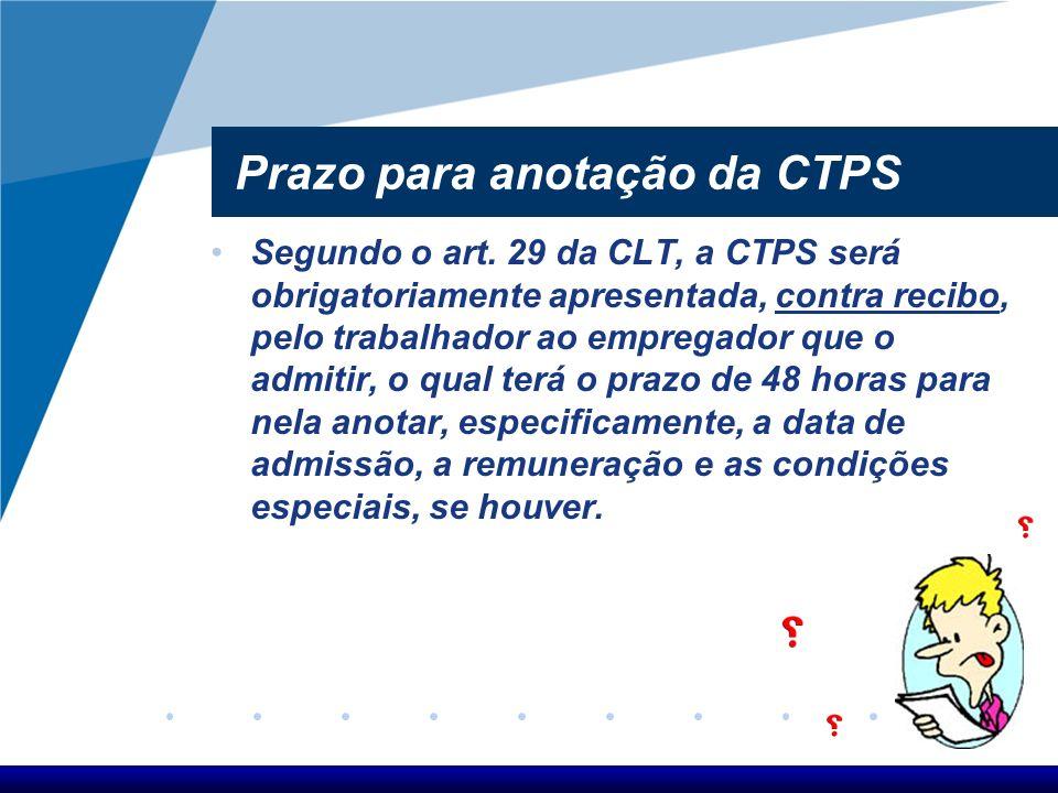 Prazo para anotação da CTPS
