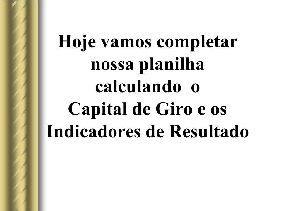 Hoje vamos completar nossa planilha calculando o Capital de Giro e os Indicadores de Resultado