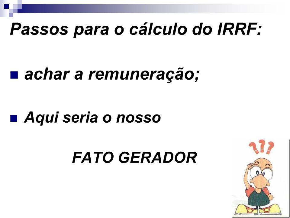 Passos para o cálculo do IRRF: achar a remuneração;