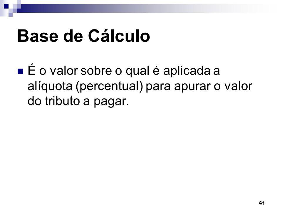 Base de Cálculo É o valor sobre o qual é aplicada a alíquota (percentual) para apurar o valor do tributo a pagar.