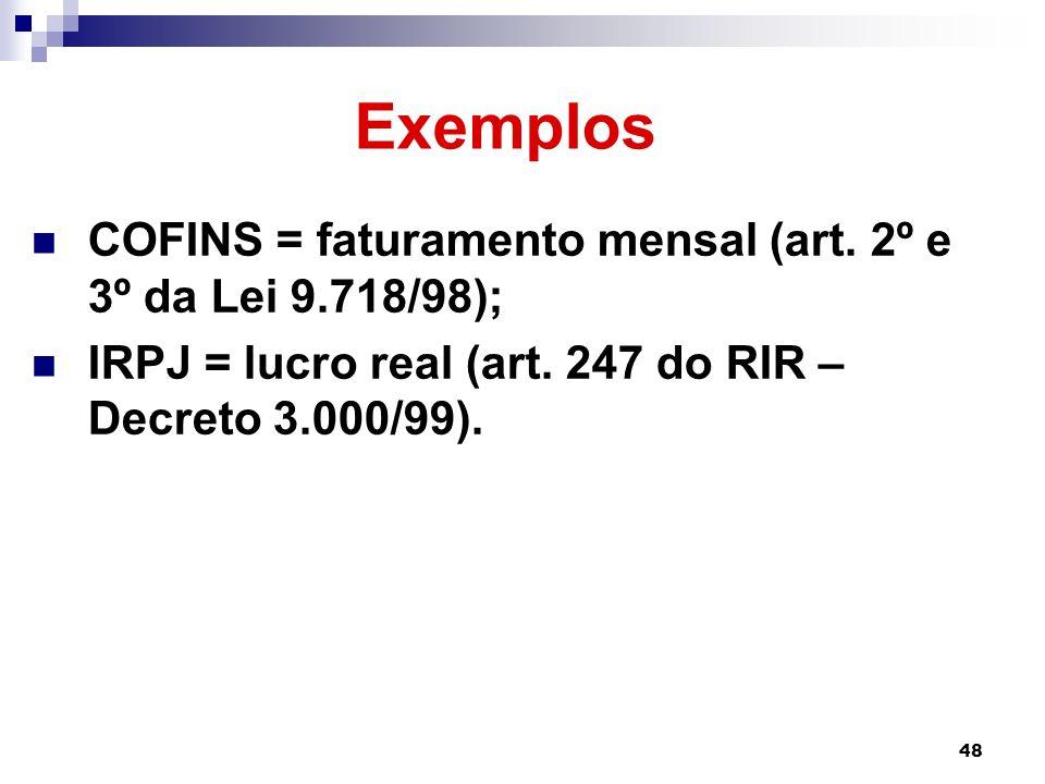 Exemplos COFINS = faturamento mensal (art. 2º e 3º da Lei 9.718/98);