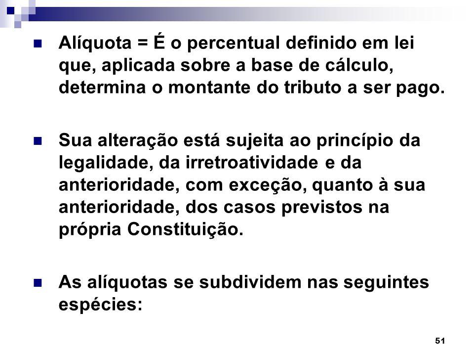 Alíquota = É o percentual definido em lei que, aplicada sobre a base de cálculo, determina o montante do tributo a ser pago.