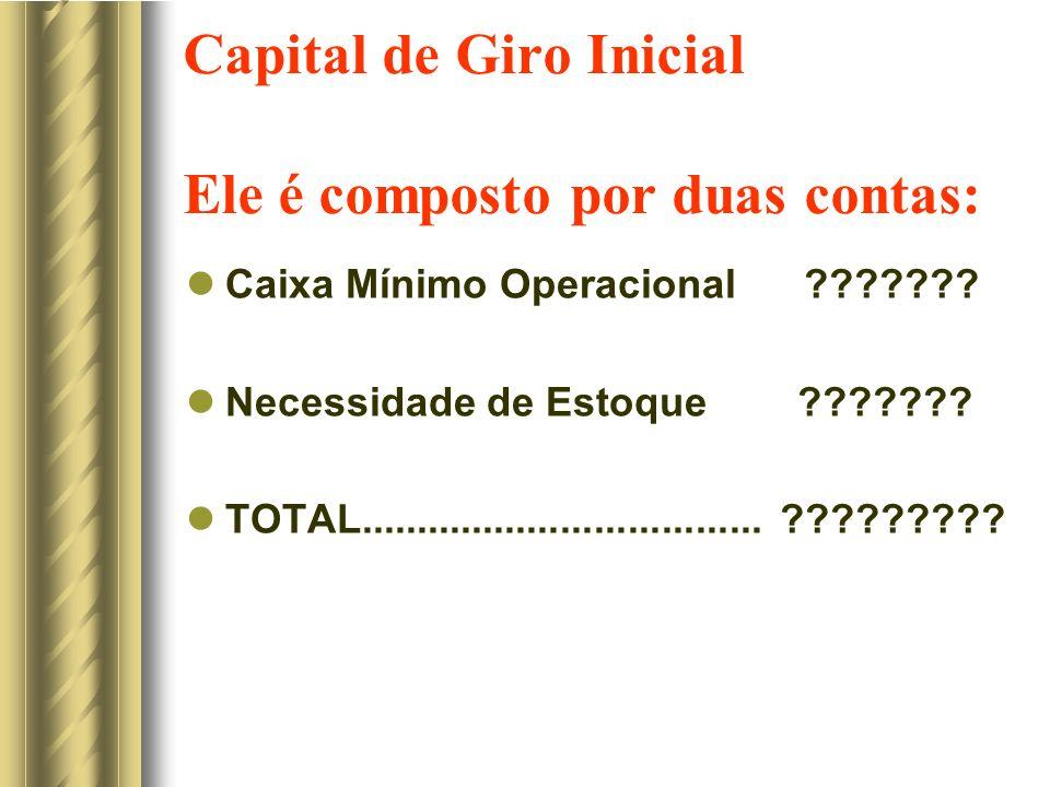 Capital de Giro Inicial Ele é composto por duas contas: