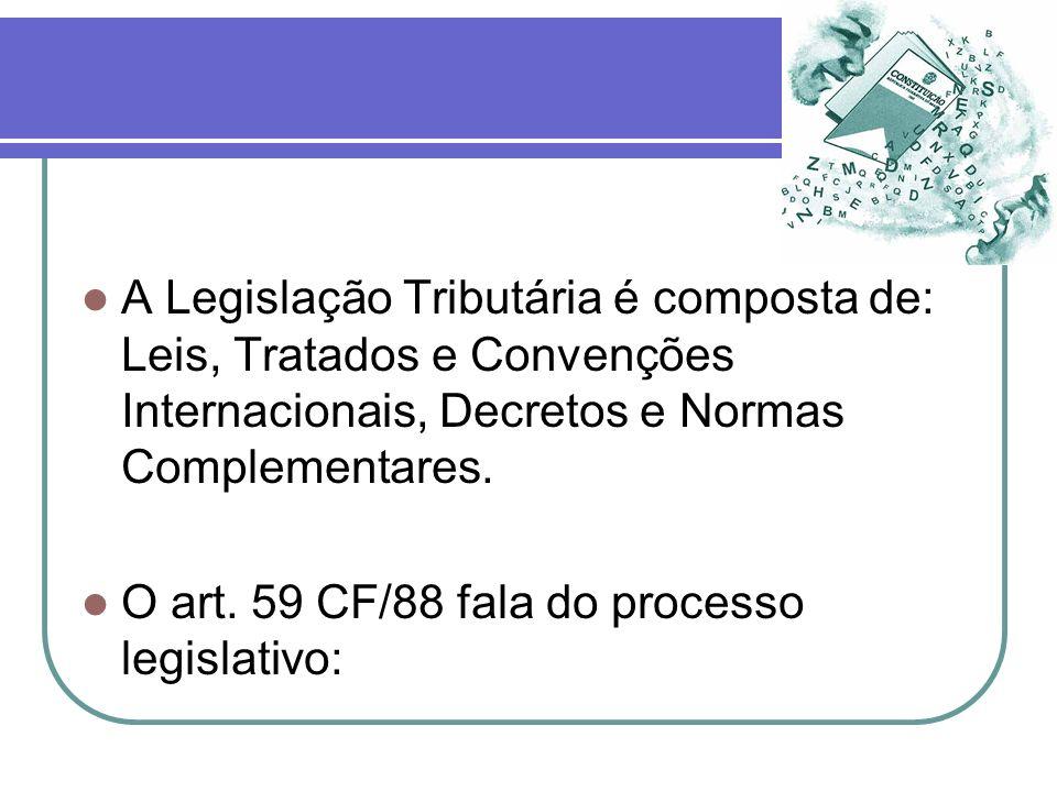 A Legislação Tributária é composta de: Leis, Tratados e Convenções Internacionais, Decretos e Normas Complementares.