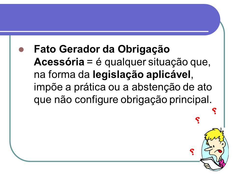 Fato Gerador da Obrigação Acessória = é qualquer situação que, na forma da legislação aplicável, impõe a prática ou a abstenção de ato que não configure obrigação principal.