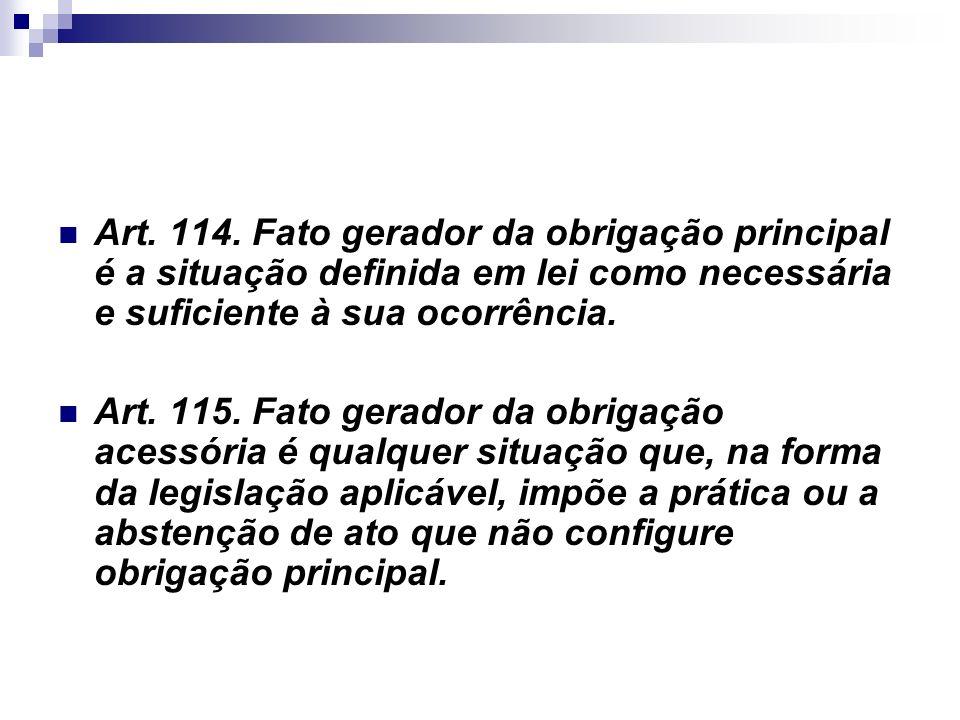 Art. 114. Fato gerador da obrigação principal é a situação definida em lei como necessária e suficiente à sua ocorrência.