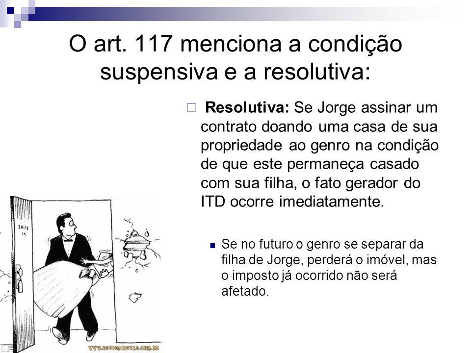 O art. 117 menciona a condição suspensiva e a resolutiva: