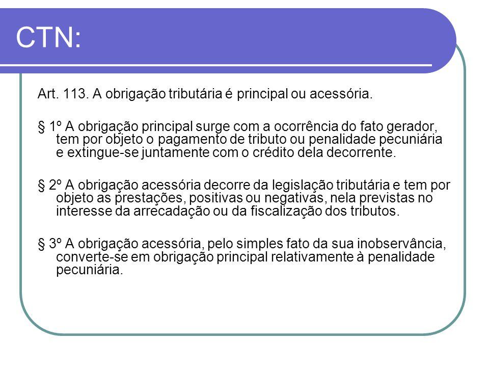 CTN: Art. 113. A obrigação tributária é principal ou acessória.
