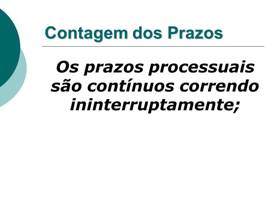 Os prazos processuais são contínuos correndo ininterruptamente;