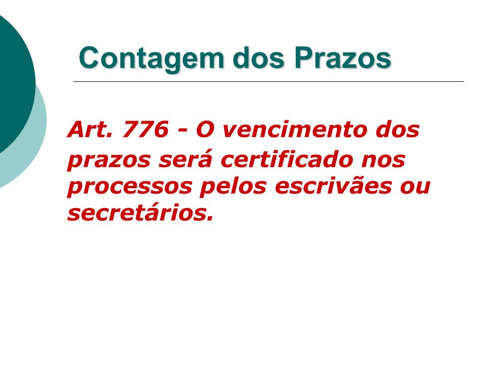 Contagem dos PrazosArt.