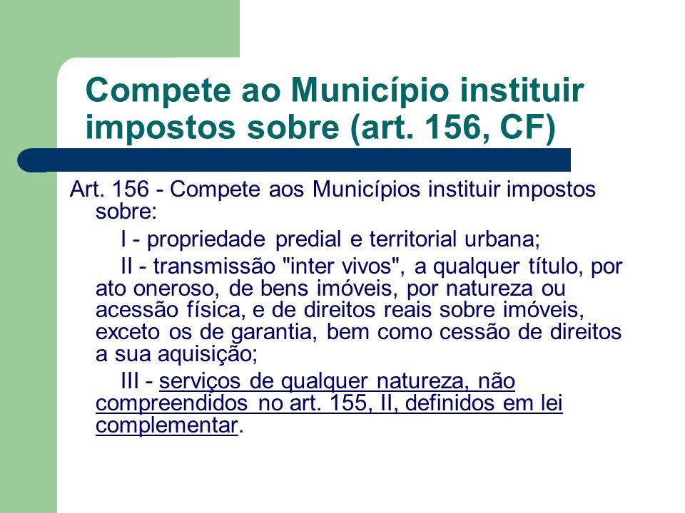 Compete ao Município instituir impostos sobre (art. 156, CF)