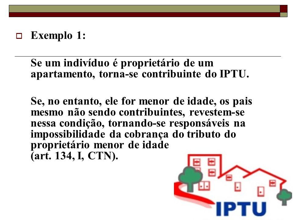 Exemplo 1: Se um indivíduo é proprietário de um apartamento, torna-se contribuinte do IPTU.