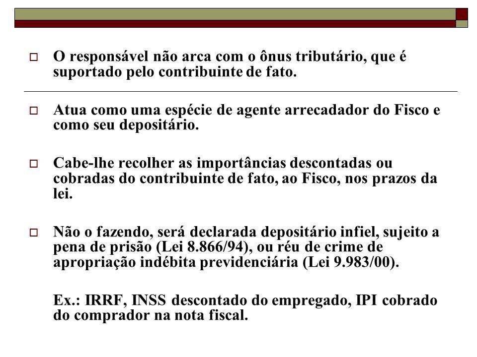 O responsável não arca com o ônus tributário, que é suportado pelo contribuinte de fato.