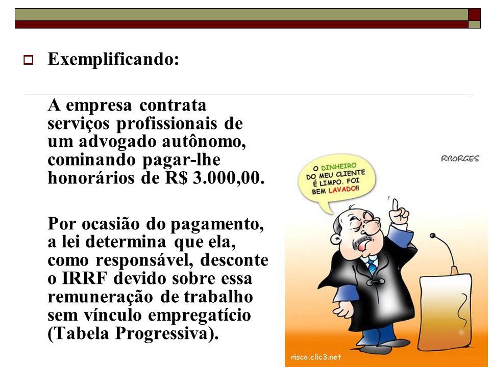 Exemplificando: A empresa contrata serviços profissionais de um advogado autônomo, cominando pagar-lhe honorários de R$ 3.000,00.