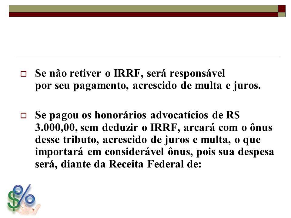 Se não retiver o IRRF, será responsável por seu pagamento, acrescido de multa e juros.