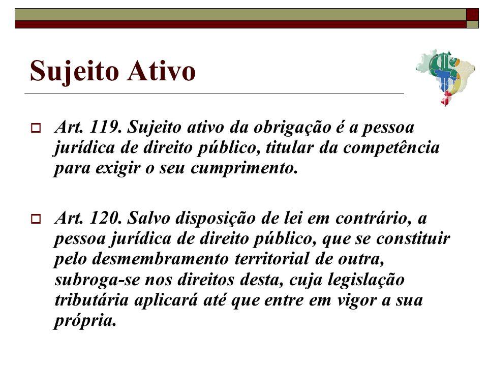 Sujeito Ativo Art. 119. Sujeito ativo da obrigação é a pessoa jurídica de direito público, titular da competência para exigir o seu cumprimento.