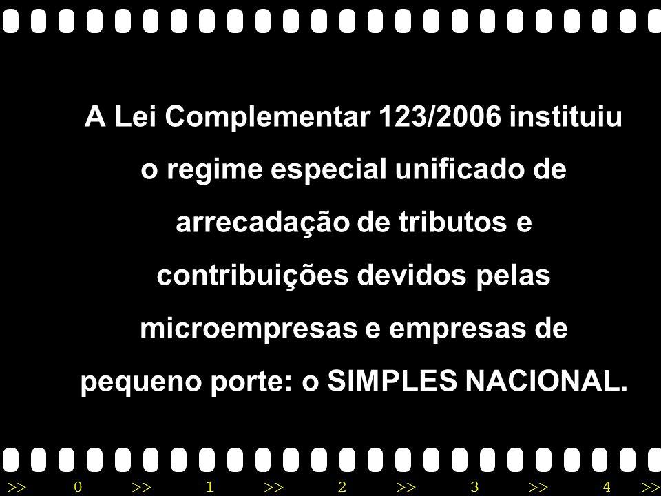 A Lei Complementar 123/2006 instituiu o regime especial unificado de arrecadação de tributos e contribuições devidos pelas microempresas e empresas de pequeno porte: o SIMPLES NACIONAL.