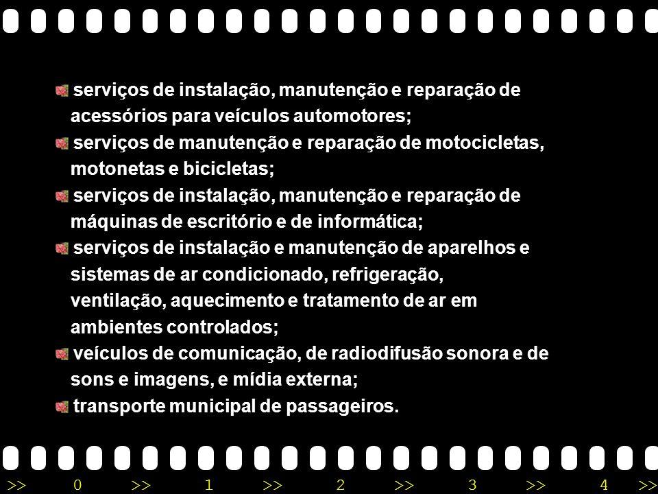 serviços de instalação, manutenção e reparação de