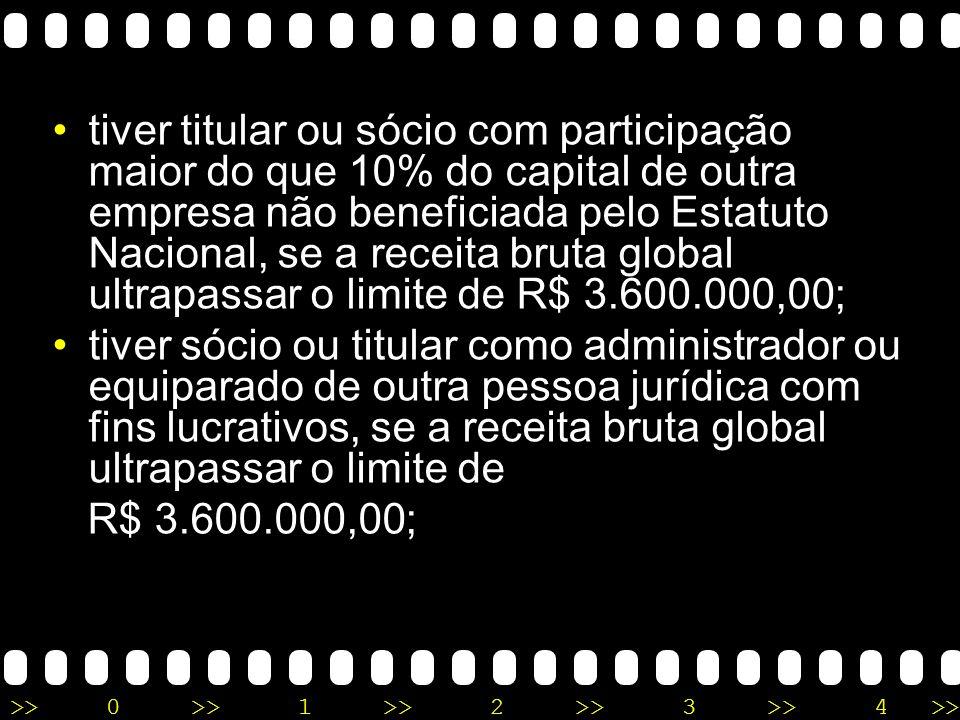 tiver titular ou sócio com participação maior do que 10% do capital de outra empresa não beneficiada pelo Estatuto Nacional, se a receita bruta global ultrapassar o limite de R$ 3.600.000,00;