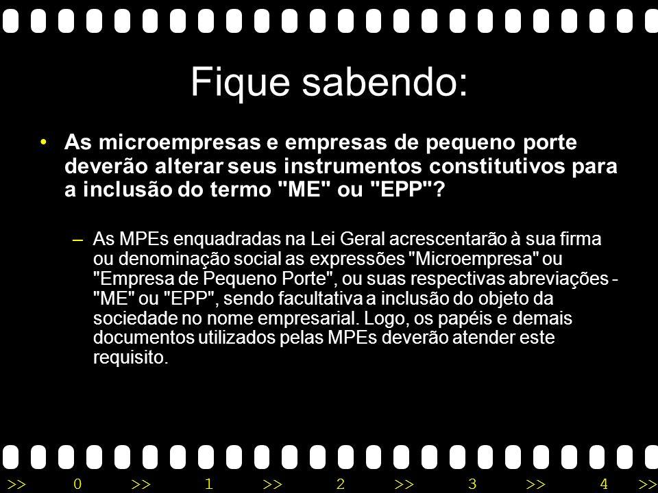 Fique sabendo: As microempresas e empresas de pequeno porte deverão alterar seus instrumentos constitutivos para a inclusão do termo ME ou EPP