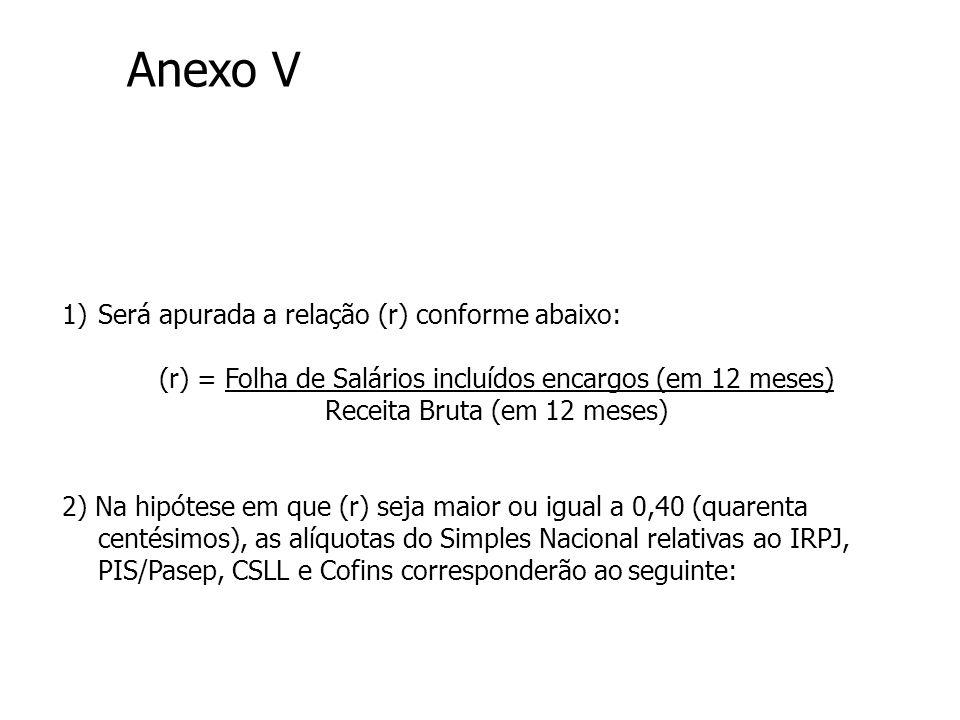 Anexo V Será apurada a relação (r) conforme abaixo: