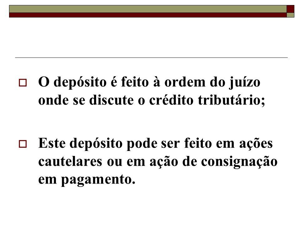 O depósito é feito à ordem do juízo onde se discute o crédito tributário;