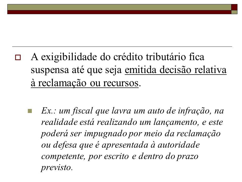 A exigibilidade do crédito tributário fica suspensa até que seja emitida decisão relativa à reclamação ou recursos.