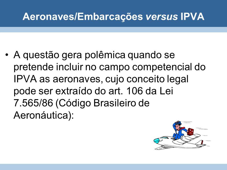 Aeronaves/Embarcações versus IPVA