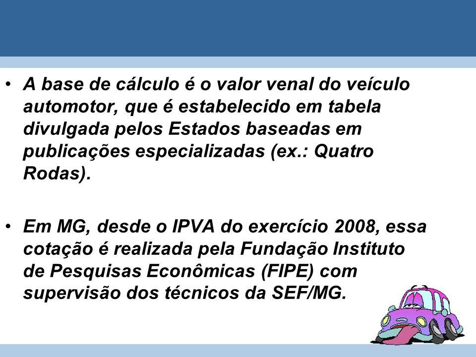 A base de cálculo é o valor venal do veículo automotor, que é estabelecido em tabela divulgada pelos Estados baseadas em publicações especializadas (ex.: Quatro Rodas).