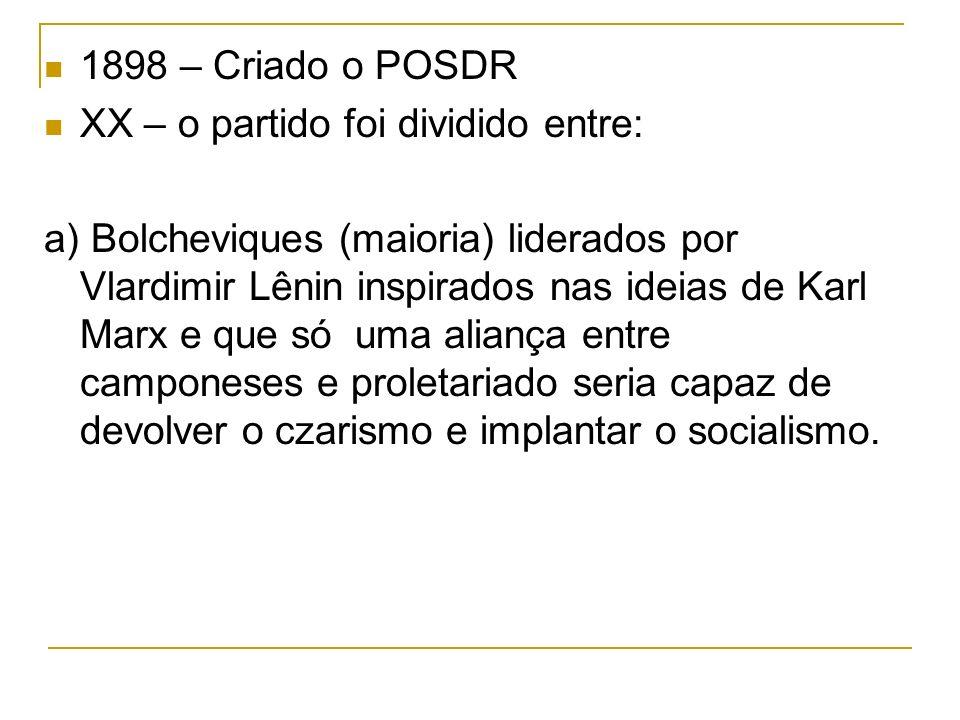 1898 – Criado o POSDR XX – o partido foi dividido entre:
