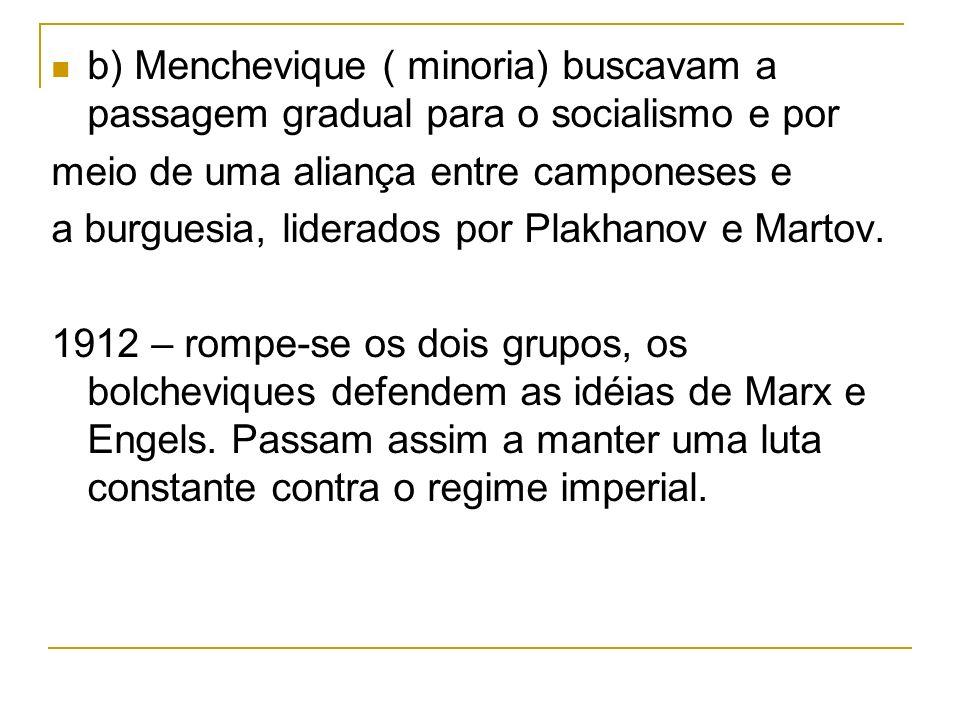 b) Menchevique ( minoria) buscavam a passagem gradual para o socialismo e por