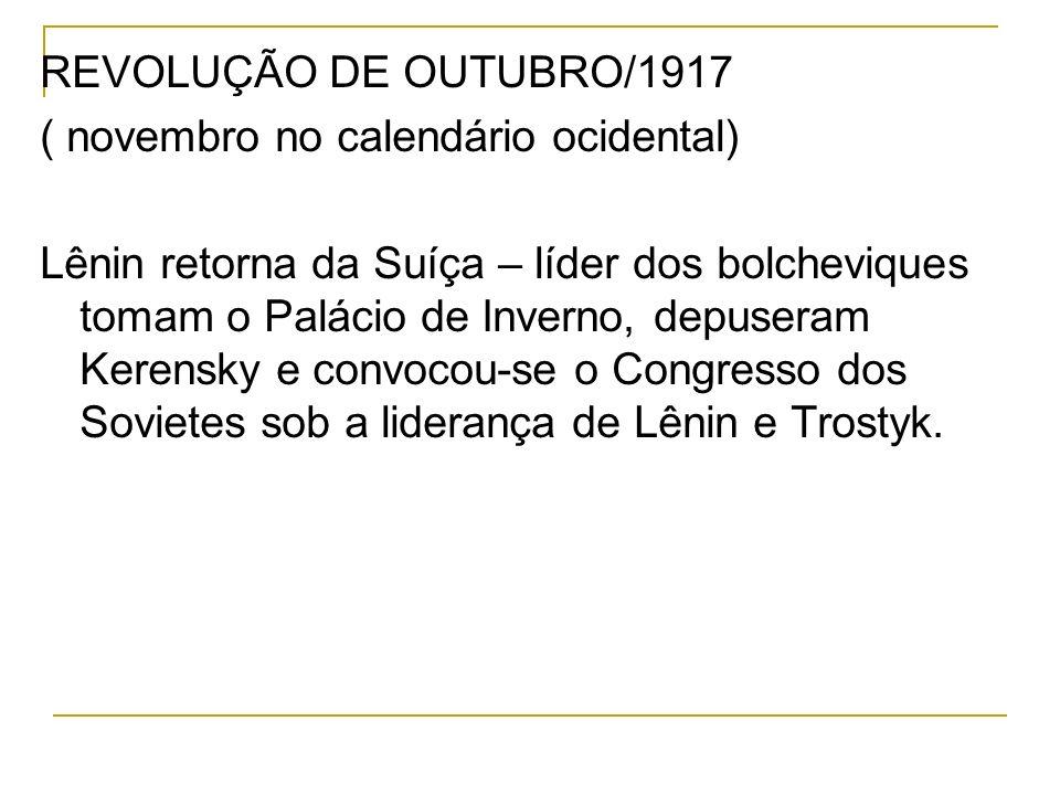 REVOLUÇÃO DE OUTUBRO/1917 ( novembro no calendário ocidental)