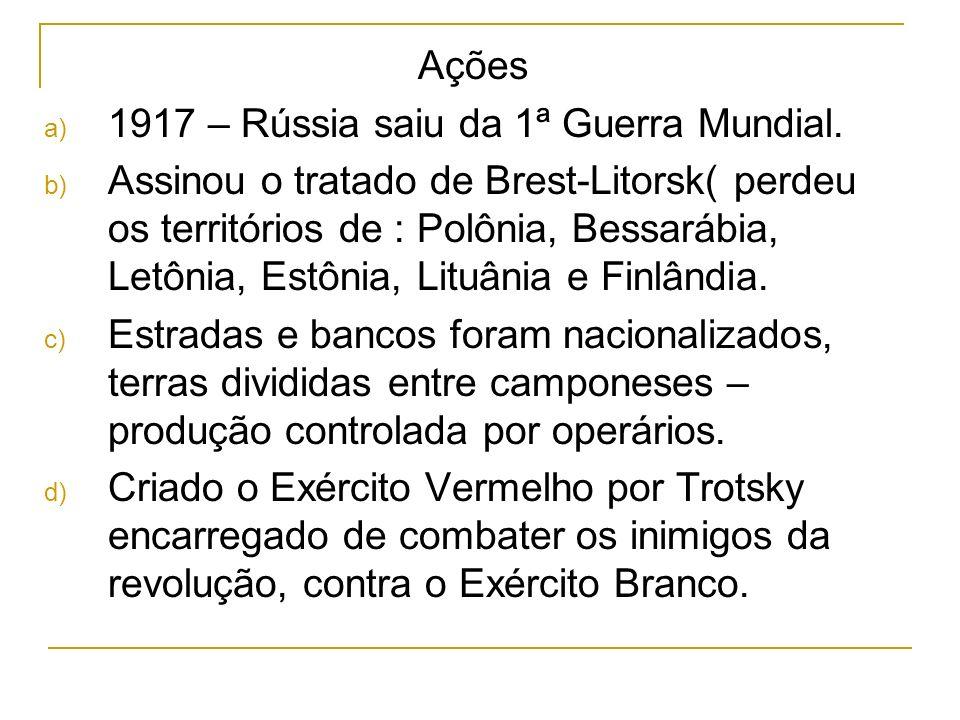 Ações 1917 – Rússia saiu da 1ª Guerra Mundial.