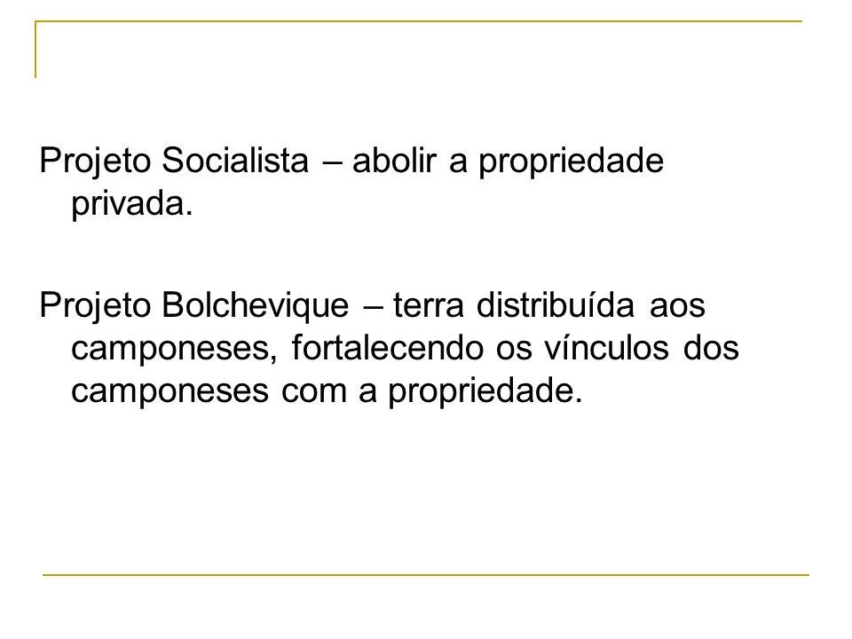 Projeto Socialista – abolir a propriedade privada.