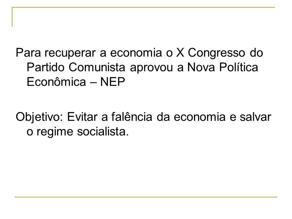Para recuperar a economia o X Congresso do Partido Comunista aprovou a Nova Política Econômica – NEP