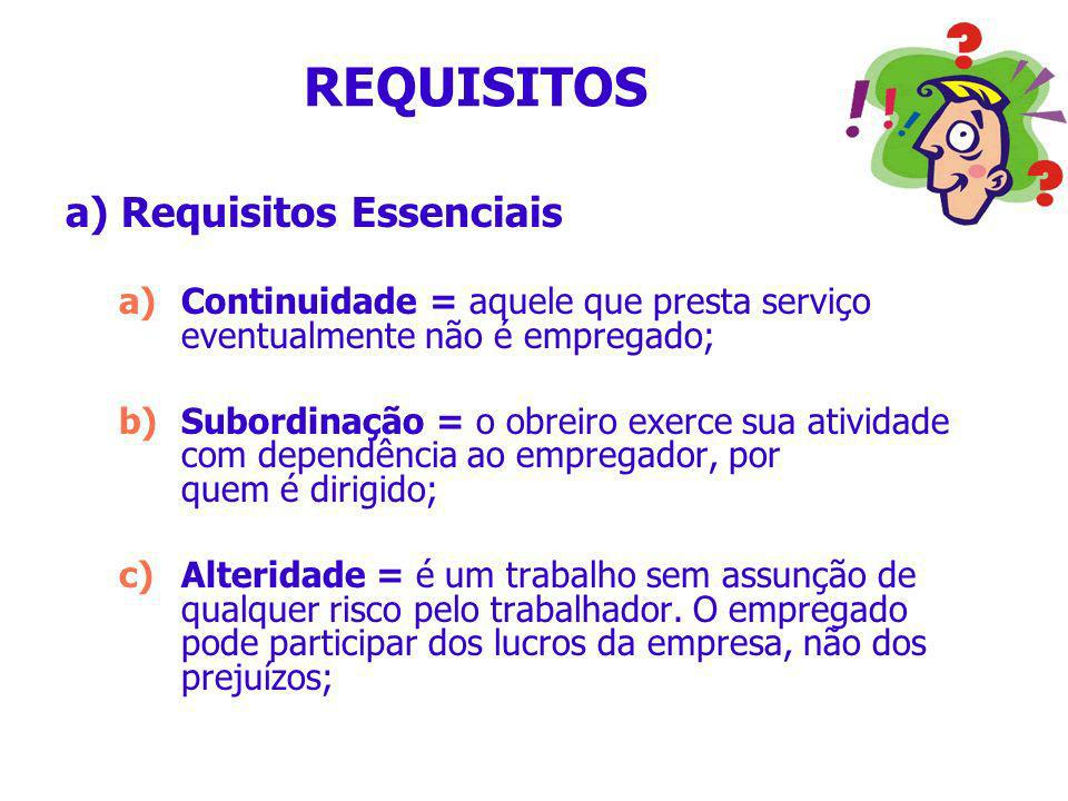REQUISITOS a) Requisitos Essenciais