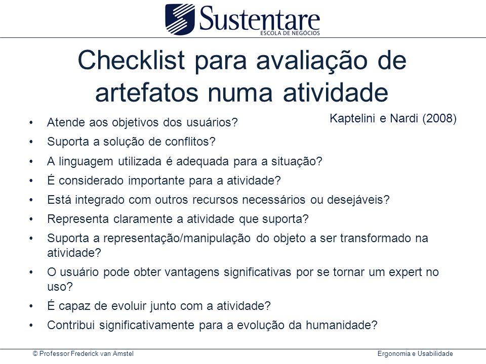 Checklist para avaliação de artefatos numa atividade