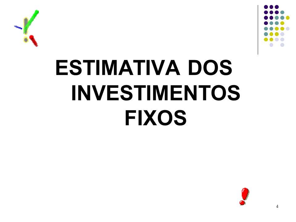 ESTIMATIVA DOS INVESTIMENTOS FIXOS