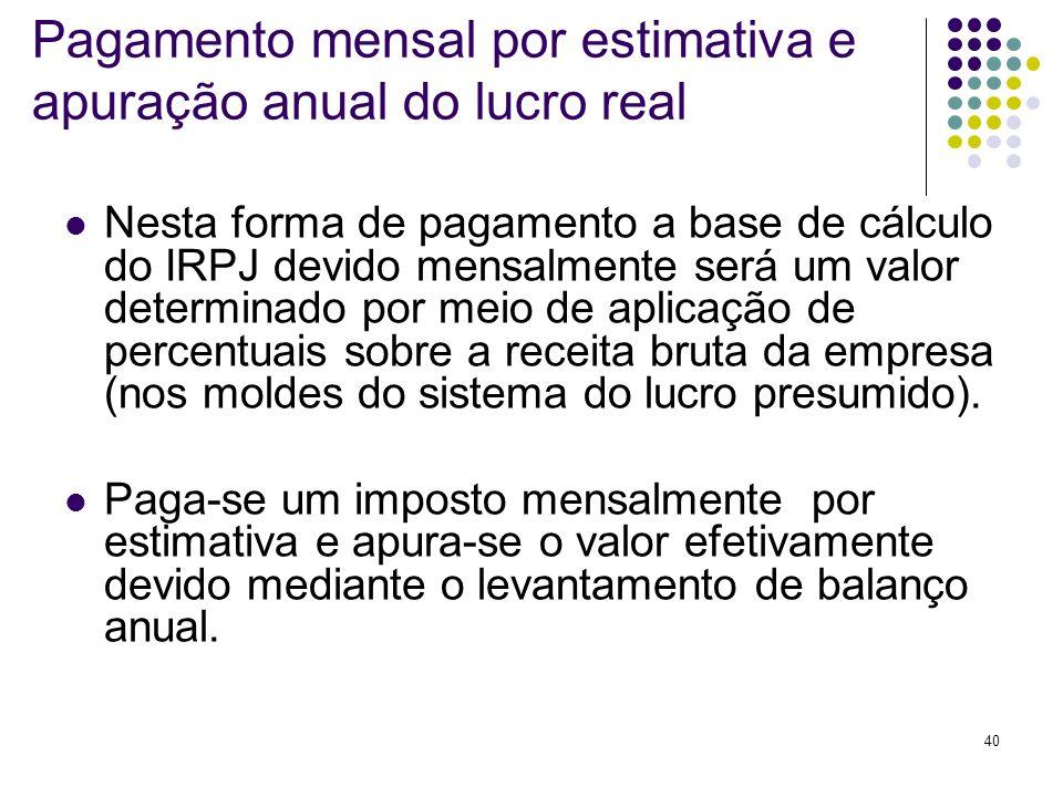 Pagamento mensal por estimativa e apuração anual do lucro real