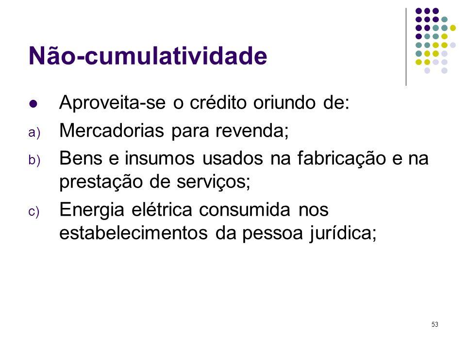 Não-cumulatividade Aproveita-se o crédito oriundo de: