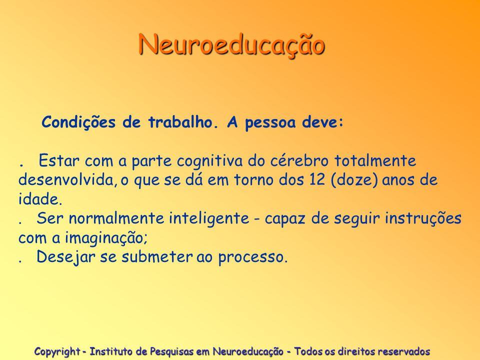 Neuroeducação Condições de trabalho. A pessoa deve:
