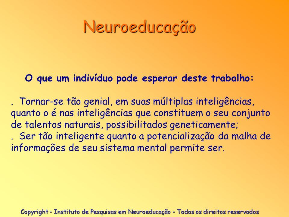 Neuroeducação O que um indivíduo pode esperar deste trabalho: