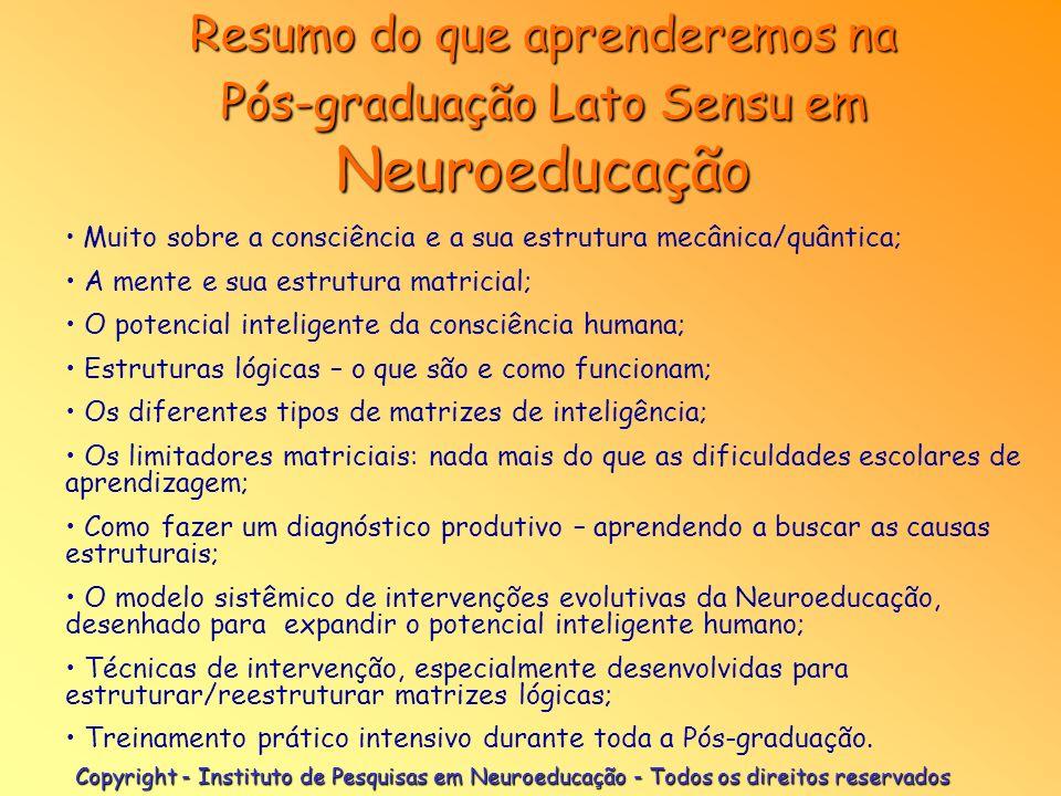 Resumo do que aprenderemos na Pós-graduação Lato Sensu em Neuroeducação