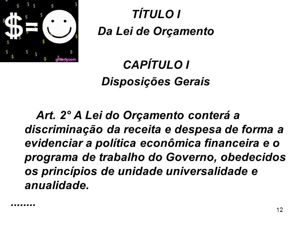 TÍTULO I Da Lei de Orçamento. CAPÍTULO I. Disposições Gerais.