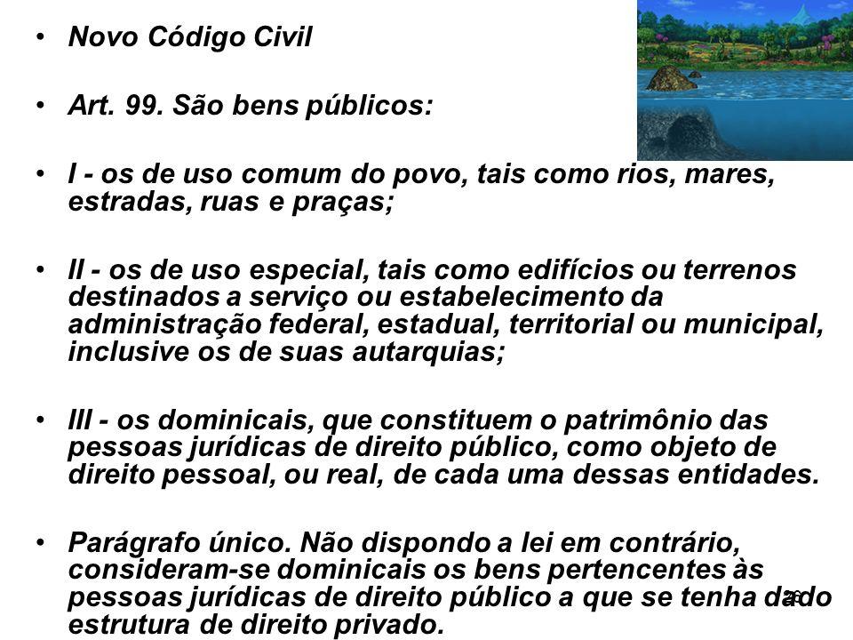 Novo Código CivilArt. 99. São bens públicos: I - os de uso comum do povo, tais como rios, mares, estradas, ruas e praças;